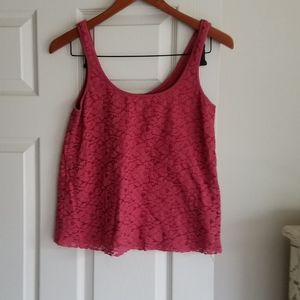 American Eagle S Brick Red Lace Top Loose Crop